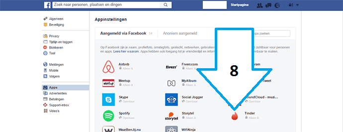 privacy instellingen Tinder en Facebook